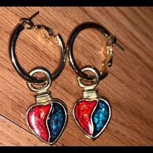 Gold hoops with Christmas hearts pair of earrings